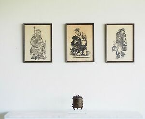 3x vintage Chinoiserie woodblock prints on rice paper Chinese Asian Oriental art
