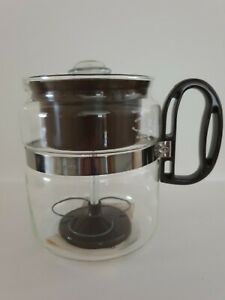 ☕ MCM GEMGO BRAND USA GLASS COFFEE PERCOLATOR w INSTRUCTION LEAFLET- BROWN-8 CUP