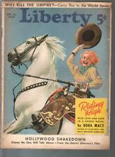 Liberty 10/10/1936-Cole Bradbury cowgirl pin-up cover-pulp fiction-FR
