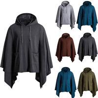 Mens Boys Irregular Patchwork Tops Loose Bat Sleeves Hooded Poncho Cape Coats L