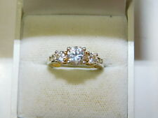 925 Sterling Silver 3 Stone CZ Engagement style size 8 Ring  10g 61