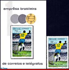 1144-45 BRAZIL 1969 1970 1,000TH GOAL BY PELE, SOCCER, MI# B26 1238,SS+STAMP MNH