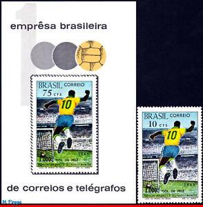 1144-45 BRAZIL 1969 1970 1,000TH GOAL BY PELE, SOCCER, MI# B26 1238 SS+STAMP MNH