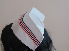 fabric nurse hat cotton cap vintage style hospital British RED BLUE WHITE strips