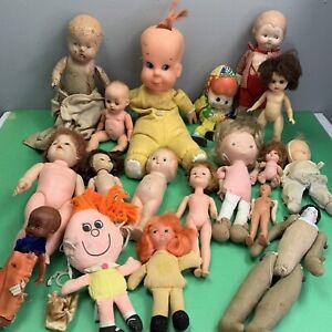 Vintage Antique Doll Lot Composition Bisque Vinyl Plastic Mattel Seeley 19 Piece