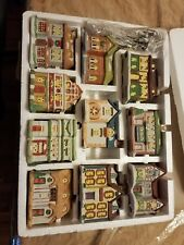 DICKENS OF LONDON 10 PIECE PORCELAIN HOUSES illuminated hand painted mini
