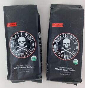 Two One Pound Bags Death Wish Coffee USDA Certified Whole Bean Organic