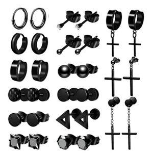 1 Pairs Punk Cross Earrings Stud Hoop Black Ear Stainless Steel Piercing Jewelry