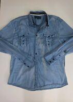 ROAR Signature Men's Blue Embroidered Button Up Casual Long Sleeve Shirt XL