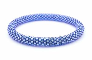"Sashka Co Regular 6-8"" SAPPHIRE Glass Beaded BRACELET solid blue Nepal jewelry"