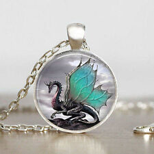 Vintage Dragon Cabochon Tibetan silver Glass Chain Pendant Necklace