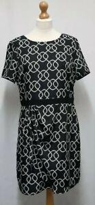 Oasis Black & White Printed Summer Dress Size 16 V-Back Plus Size Wrap Dress C26