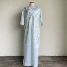 CHRISTIAN DIOR  Lingerie Nightgown Large Light Green Floral Stripes Short Sleeve