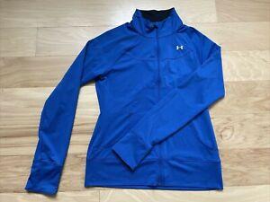 Under Armour Women's Full Zip Tennis Track Running Jacket Medium Blue EUC