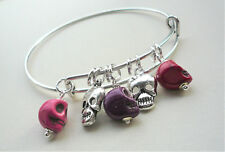 SKULL Expandable BANGLE Red Pink Purple Howlite Bead Silver Charm   KCJ2517