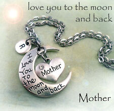 Mother I Love You to the Moon and Back Necklace w-Letter Charm * Mom Gift