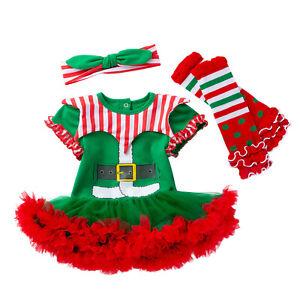 Newborn Baby Girls Christmas Dress Outfits Infant Xmas Romper Dress Headband Set