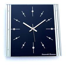 Swarovski Elements Glas Funk Wanduhr schwarz Chrom silber Wohnzimmeruhr Bürouhr