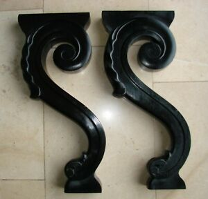 Antique French Pair Blackened Wood wooden Foot - 19th