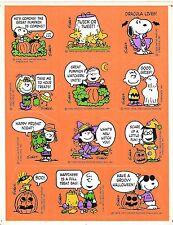 Vintage Peanuts Snoopy Hallmark Full Sticker Sheet Halloween