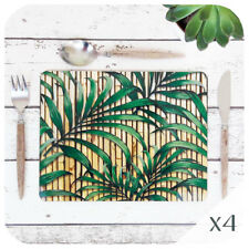 Tropical Palm Leaf Placemats (4), Retro Mid Century Bamboo Placemats, Tiki Style