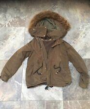Zara Ladies Coat Jacket Distressed Parka Fur Hood Removable Gilet Size M