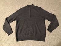 IZOD Mens Medium Pullover Sweater  1/4 Zip Medium M Gray Free Shipping