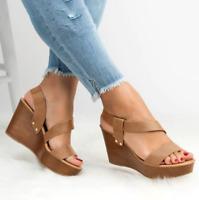 Women Peep Toe Roman Strappy Sandals Platform Wedge High Heel Summer Casual Shoe