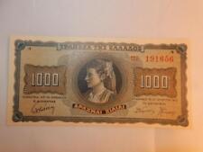 VINTAGE CURRENCY GREECE 1000 DRACHMAI P-118 PAPER MONEY 1942 UNC