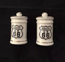"Vintage Porcelain ""Route 66"" Salt and Pepper Shakers with Gold Trim"
