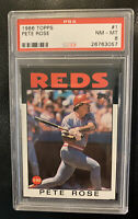 PETE ROSE 1986 TOPPS BASEBALL CARD #1 - PSA NM-MT 8 - REDS