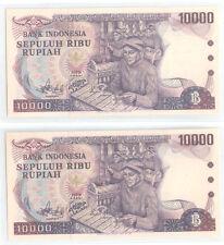 Indonesia 10000 Rupiah  Banknote UNC  1979 2pcs Running Number RARE