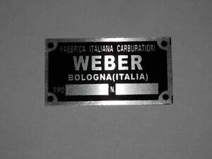 WEBER CARBURETORS ALLUMINUM IDENTIFICATION LABEL