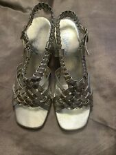 Vintage Shoes 1960s Dance Silver Strappy Sandals Sturdy Block Heel 7 M