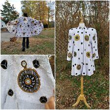 Vintage 80-90s French Collizioni White clock Ornament Sequin glam Swing coat