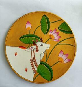 Pichwai Painting on wooden hanging plates handpainted artworks