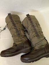 GIRLS LANDS 'END GREEN BROWN FAUX FUR BOOTS SIZE 3
