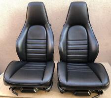 Porsche 911 964 965 930 OEM Recaro Power Sport Seats Recovered in Black Leather