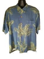Tommy Bahama 100% Silk Button Front Hawaiian Shirt Blue Palm - Mens Size L