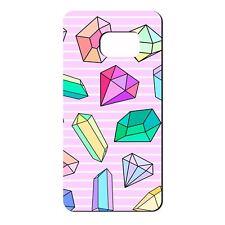 Para Samsung Galaxy S7 Funda de Silicona Rosa Bling Diamantes Azul Púrpura-S666