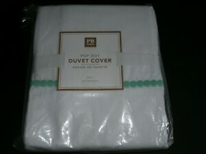 Pottery Barn Teen Pop Dot Twin Duvet Cover NIP New White Pool Aqua PBT Cotton