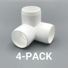 """1-1/4"""" inch 3-Way Corner Elbow PVC Fitting Connector - 4-Pack - PB1253W-4P"""