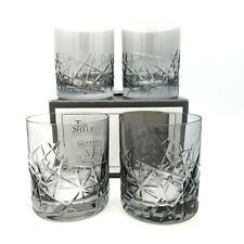 Top Shelf Hand Cut Crystal Graffiti Smoke 4 10 oz Old Fashioned Glasses NEW