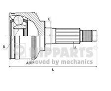 Antriebswelle J2888000 getriebeseitig VA beidseitig Nipparts Faltenbalgsatz