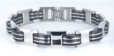 "USA RUBBER & STAINLESS STEEL Link Unisex Cool Bracelet SSB-025B (8.5"")"