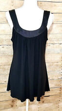 KIWI Womens Size XL Sleeveless Black Blouse Flowy Stretch Tank Top Cut Out Back