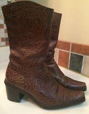 Gianni Bini Designer Brown Textured Leather Mid Calf Boots Sz 7M Gorgeous!! EUC