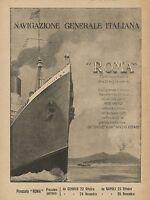Y0284 Navigazione Generale Italiana - Piroscafo ROMA - Pubblicità d'epoca - Adv.