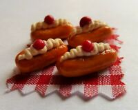 DOLLS HOUSE MINIATURE FOOD * 4 X CHERRY CREAM ECLAIRS * COMBINED P+P