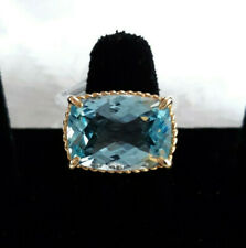 Huge Blue Topaz Ring in 14k Yellow Gold, east-west setting, cushion cut, size 7